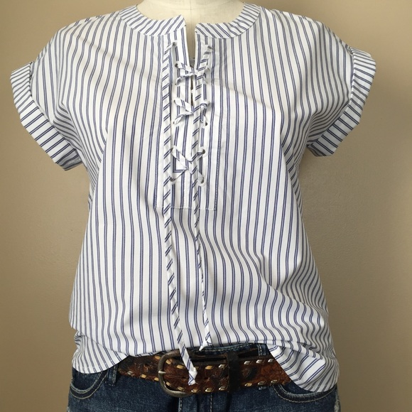 1a1d9bdf6b3 J. Crew Tops - J. Crew Lace-Up Shirt Popover Blue White Stripes